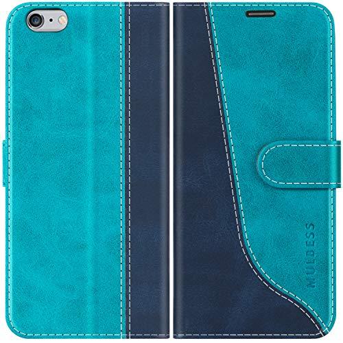 Mulbess Funda para iPhone 6s Plus, Funda iPhone 6 Plus, Funda con Tapa iPhone 6s Plus, Funda iPhone 6s Plus Libro, Funda Cartera para iPhone 6s Plus Carcasa, Azul Mint