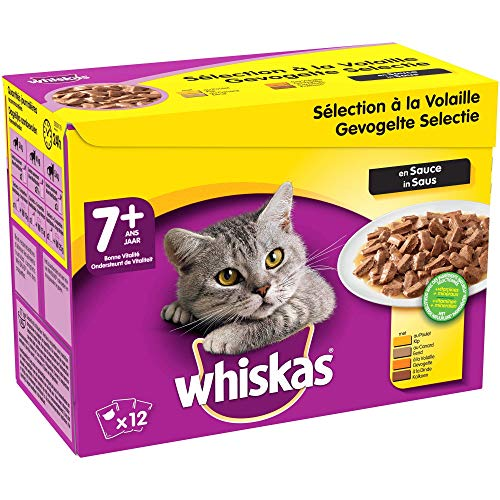 Whiskas Senior7+ - Sachets fraîcheur pour chat senior (stérilisé ou non), sélection à la volaille en sauce, 48 sachets repas de 100g