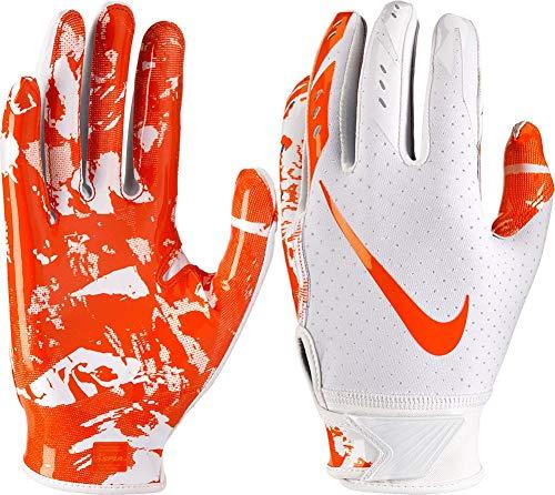 Nike Boy's Vapor Jet 5.0 Adjustable Wrist Closure Football Gloves (White/Orange/Large)