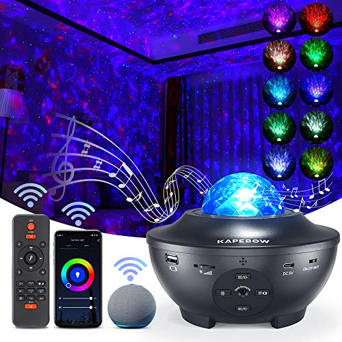Kapebow Star Projector, Galaxy Star Night Light Projector Working with Smart App & Alexa, 10 Color Music Starry Light Projector with Remote & Bluetooth, Sky Light Projector for Bedroom Kids Adults