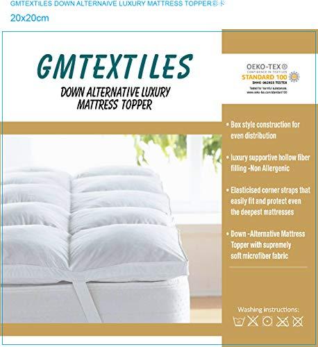 GMTEXTILES II HOTEL QUALITY(Microlite) MICRO FIBER MATTRESS TOPPER THICK 5 CM, BOX STITCHED,IN, ANTI ALLERGENIC (Single (90 X 190 CM))