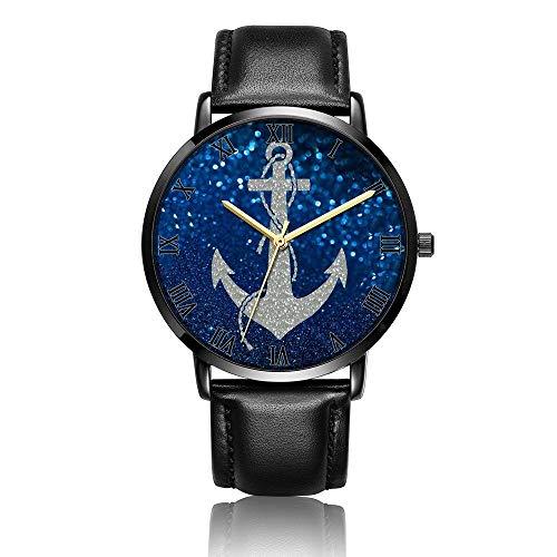 Relojes Anolog Negocio Cuarzo Cuero de PU Amable Relojes de Pulsera Wrist Watches Ancla Azul Brillante