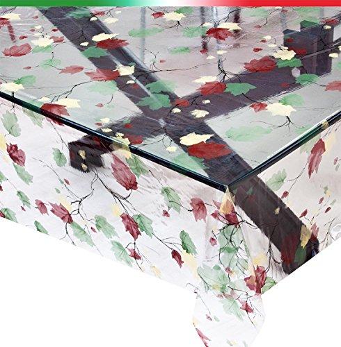Mantel transparente, venta al metro, altura 140 cm, antimanchas, hojas, mod. KRISTAL96