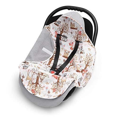 EliMeli EINSCHLAGDECKE für Babyschale Baby Decke für Autositz und Kinderwagen aus Waffelstoff und Baumwolle mit Füllung, universal z.B. Maxi Cosi Kinderwagendecke (Grau - Waldfreunde)