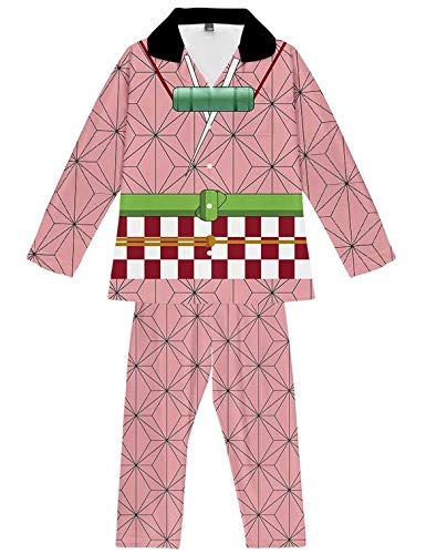 COSCO 鬼滅の刃 パジャマ キッズ 上着とズボン 子供服 アニメ 記念 プレゼント 上下 2点セット (禰豆子, 160)