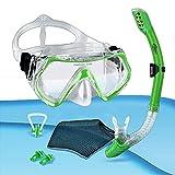 tropisport | Kit de plongée avec tuba et masque de plongée – Comprend un masque de plongée anti-buée, un sac en filet, des bouchons d'oreille, un pince-nez (vert).