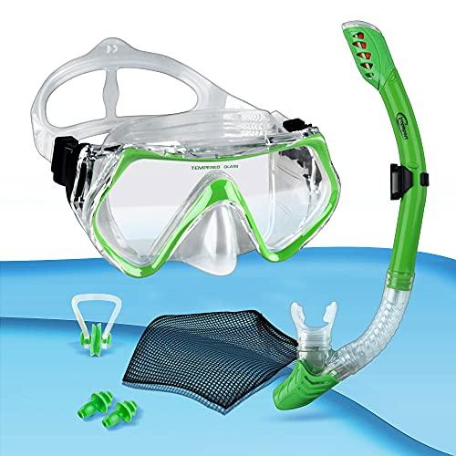 tropisport | Premium Schnorchelset mit Schnorchel und Taucherbrille – Inkl. bruchfreier Anti Fog Tauchmaske, Netzbeutel, Ohrstöpsel, Nasenklammer (Grün)