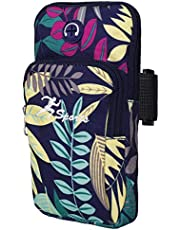 Sport armband universell arm väska hållare gym armband med hål för hörlurar och dubbla fickor för iPhone Xr/XS/X 8 7, Samsung Galaxy S9/S8/S7, Huawei och LG Smartphone (blå)