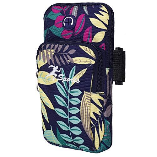 Sports Armbinde Universal Arm Tasche Holder Gym Armbänder mit Kopfhörerloch & Doppeltaschen für iPhone Xr/XS/X 8 7, Samsung Galaxy S9/S8/S7, Huawei und LG Smartphone (Blau)