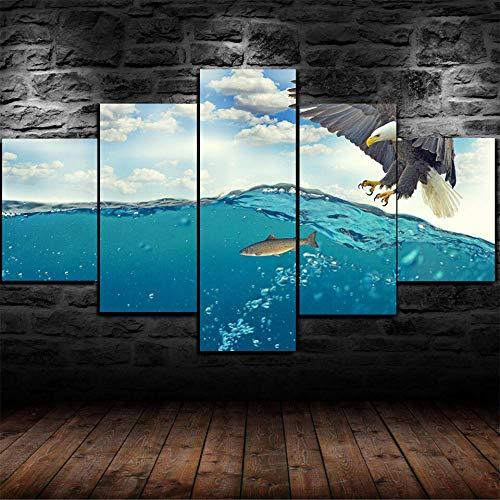 YJXL Cuadro de 5 paneles para pared, diseño de águila, caza de peces en agua-HD, impresión sobre lienzo, para la familia u oficina, pieza de regalo estirada por marco de madera,...