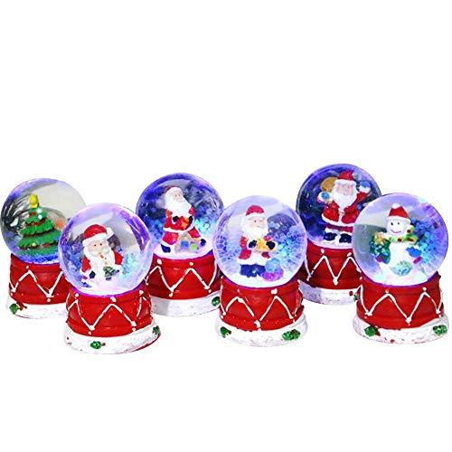 Szseven Weihnachts-Schneekugel LED Leuchtende Weihnachtsglitter-Kuppel Snow Globe Christmas Für Kindergeschenk-Hauptdekor 6 Styles (zufällig Versandt)