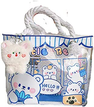 Audey Selling Mesa Mall rankings Clear Tote Bag Cartoon Bear Hand Backpack girls for Rabbit