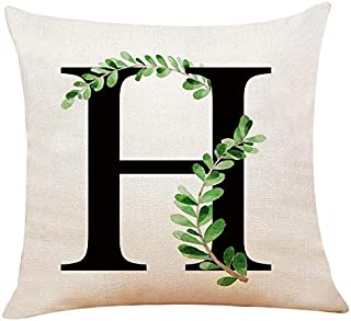 XUWELL English Alphabet H Throw Pillow Cover, Olive Branch Cotton Linen Cushion Case for Sofa Bed Home Decor 18 x 18 Inch
