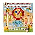 Niño Juguetes educativos Reloj Educativo de Madera Calendario Tablero de Enseñanza Temporada Tiempo para Niños de 3 Años en Adelante (Madera) por Amasawa