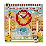Amasawa Bambino Giocattoli Educativi di Orologio Educativo in Legno Orologio Calendario Data Stagione Tempo per Bambini di 3 Anni in su (Legno)