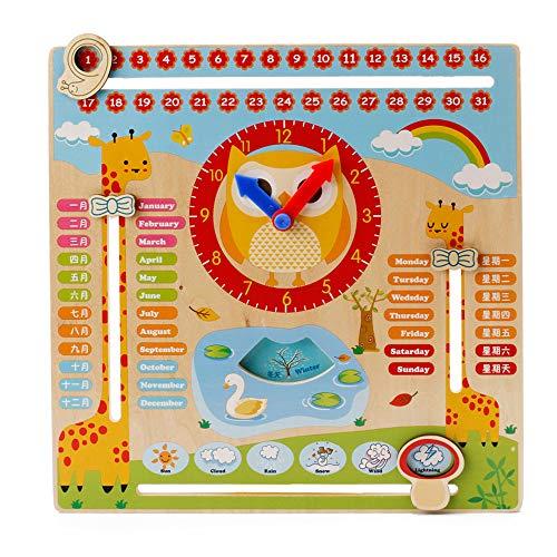 Niño Juguetes educativos Reloj Educativo de Madera Calendario Tablero de Enseñanza Temporada Tiempo para Niños de 3 Años en Adelante (Madera)