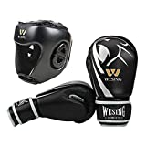 WESING Boxing Gloves for Kids with Headgear Boxing Protective Gear for Children (Silver, M)