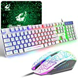 Tastiera e Mouse da Gioco, Layout Italiano QWERTY Gaming Tastiera Retroilluminato a LED Co...