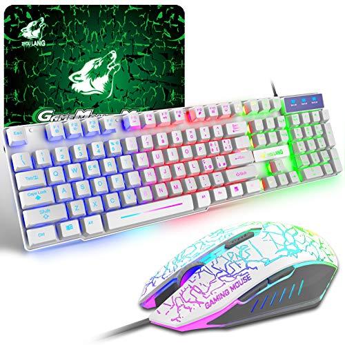 Tastiera e Mouse da Gioco, Layout Italiano QWERTY Gaming Tastiera Retroilluminato a LED Colore Arcobaleno, Mouse 6 Tasti 2400 DPI e Tappetino per Mouse, USB Cablato per PS4 XBox, Bianca