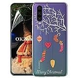 OKZone Funda Huawei P30 [con Protector Pantalla] [Serie de Navidad] Ultra Delgado Claro Silicona Anti-Rasguño Protección de Esquina Protector Completo Caso para Huawei P30 (Navidad 23)
