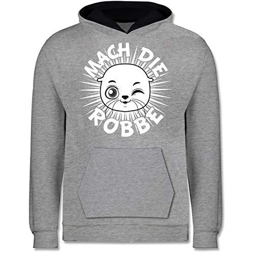Shirtracer Up to Date Kind - Mach die Robbe - 104 (3/4 Jahre) - Grau meliert/Navy Blau - Julian bam - JH003K - Kinder Kontrast Hoodie
