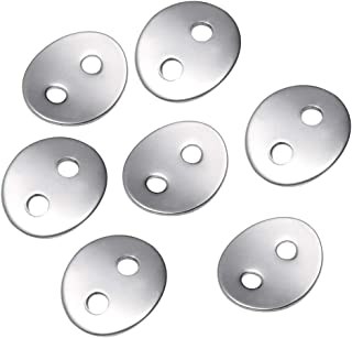50 PCS Stainless Steel Oval Button Snaps Wristband Clasps 2mm Holes for Wristband Rings Necklaces, Silver
