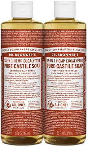 Dr Bronner s Pure Castile Liquid Soap Eucalyptus 16 ounce 2 Pack Made with Organic Oils 18 in product image