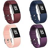 Vancle Lot de 4 bracelets de rechange pour Fitbit Charge 2 (03 bordeaux, bleu marine, violet, rose rouge), taille L