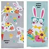 Osterhandtuch mit Spruch Happy Bunny Day and Hippity Hop, 2-teiliges Set