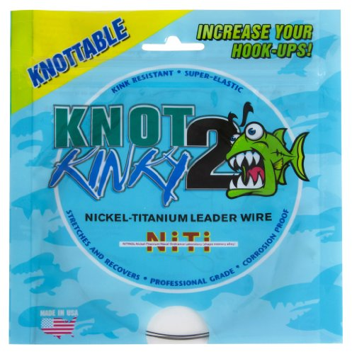 Aquateko Single Strand Nickel-Titan Angel Vorfach KNOT2KINKY 30ft/9,2m (5,44kg-29,55kg / 12lb-65lb) - dehnbares Titanvorfach Made in USA (25lb(11,36kg))