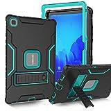 SINSO Schutzhülle für Samsung Galaxy Tab A7 26,4 cm (10,4 Zoll) 2020, mit integriertem Bildschirmschutz, stoßfest, strapazierfähig, mit Standfunktion, Schwarz & Türkis