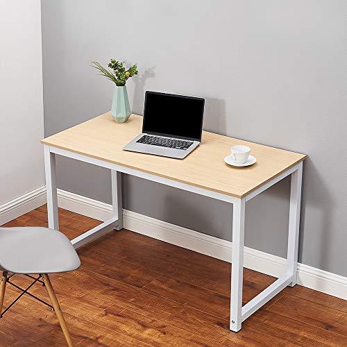 Ruication Mesa de estudio grande para ordenador portátil, estación de trabajo de madera con marco de estudio diseñado para PC grande y escritorio de juegos para oficina en casa (haya)