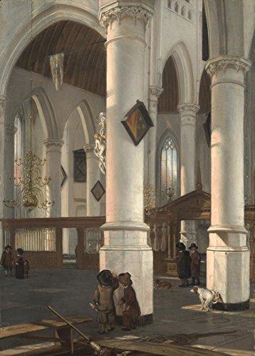 The Museum Outlet – Intérieur de la vieille Église en Delft. 1650–52, Tendue sur toile Galerie enveloppé. 29,7 x 41,9 cm