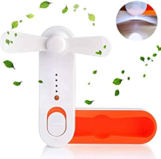 Ventilador de mano SHUNING Mini USB Fan Mini Ventilador portátil USB Travel Fan, Electric Handheld Fan Recargable, plegable Ventilador de bolsillo para sofocos (Orange)