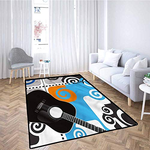 Purchase Music Kids Playmat Guitar on Abstract Backdrop Home Decor 5x8 Feet