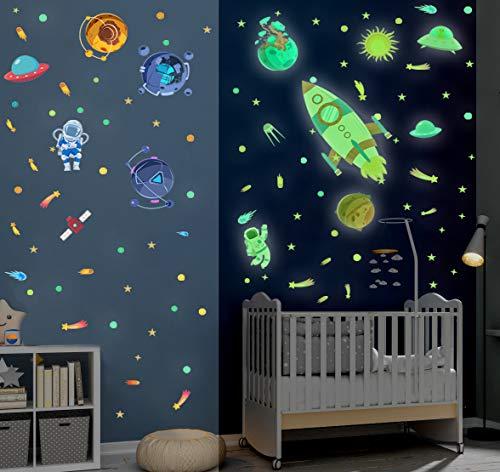 121 Stück Weltraum Wandtattoo Kinderzimmer,DIY Cartoon Rocket Leuchtsticker,fluoreszierend Wandbilder Wandaufkleber für Jungen Schlafzimmer,Abstrakt Planet Sterne Wandstickers für Babyzimmer Wanddeko