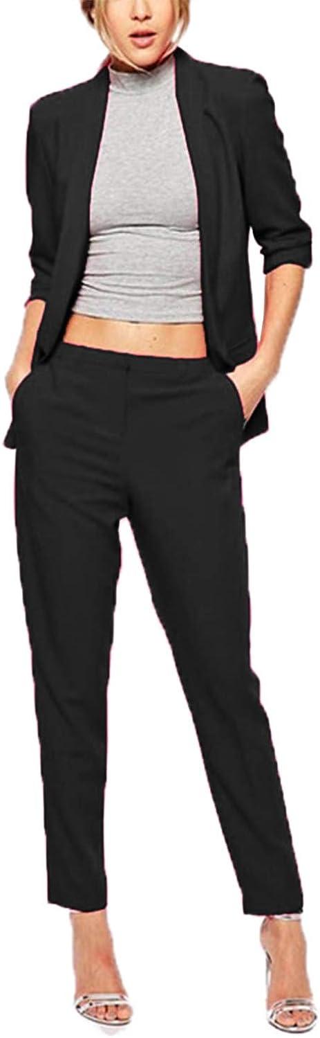 Women's Elegant Suits Two Piece Business OL Coat and Pants Slimming Suit Set