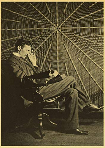 lubenwei Famous Scientists Nikola Tesla Retro poster Home Furnishing decoration Game Poster Drawing Painting Wall stickers 50x70cm No frame AT-3357
