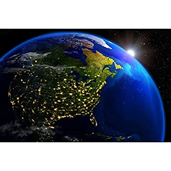 Poster – America at Night – Picture Decoration Outer Space View Illuminated Cities Orbit Earth Planet Galaxy Universe Satellite Image Photo Decor Wall Mural  55x39.4in - 140x100cm