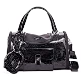 AZGOGO Portable Outdoor Pet Cat Dog Carrier Bag with Purse Leather Travel Small Dog Chihuahua Teddy Carrying Bag Handbag - Black