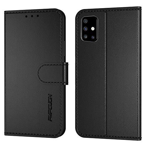 FMPCUON Handyhülle Kompatibel mit Samsung Galaxy A71 5G(Neueste),Premium Leder Flip Schutzhülle Tasche Hülle Brieftasche Etui Hülle für Galaxy A71 5G(6,7 Zoll),Schwarz