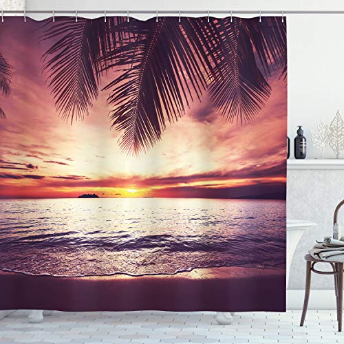 ABAKUHAUS Palmboom Douchegordijn, Sunset Ocean Waves, stoffen badkamerdecoratieset met haakjes, 175 x 180 cm, Geel