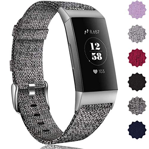 Maledan Compatible with Fitbit Charge 3 Bands Woven, Small, Charcoal