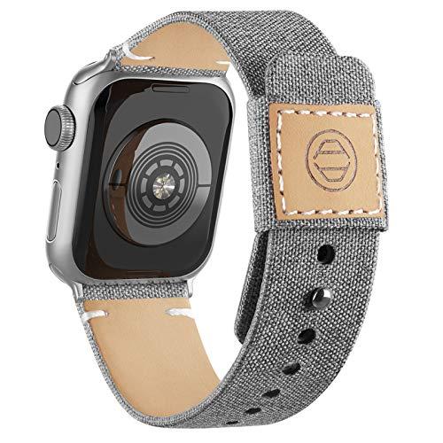 Goosehill Correas de tela compatibles con Apple Watch Correa de 40 mm, 38 mm, 42 mm, 44 mm, correa de piel auténtica con hebilla a presión para Apple iWatch Series 6/5/4/3/2/1 (gris 42 mm/44 mm)