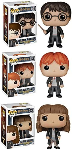 """Funko Harry Potter POP! Movie Vinyl Collectors Set: Harry Potter, Ron Weasley & Hermione Action Figure                Funko POP Movies: Harry Potter Action Figure - Hermione Granger Yule Ball                Funko 35510 Pop! Harry PotterHedwig, Standard, Multicolor                Funko POP Movies: Harry Potter Action Figure - Dumbledore                Harry Potter 1.65"""" Die-cast Metal Collectible Figures 20-Pack Wave 4, Toys for Kids and Adults"""