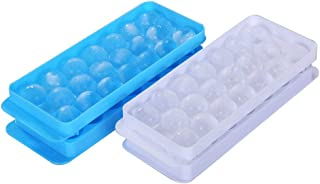 Ice Ball Tray Spheres Ice Cube Mold, Plastic Food-Grade Stackable Round Ice Ball Mold with Lid for Cocktail and Whiskey - ...