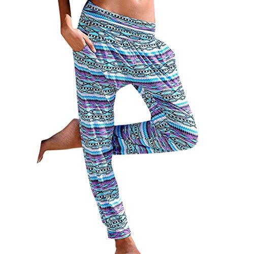 Auiyut Damen Sommerhose All-Over-Print Haremhose Perfekte Freizeithose Zum Yogahosen Strandhose Pumphose Jogginghose Leichte Sommer Hose Schlabberhose