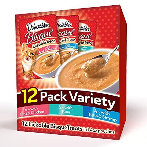 Hartz Delectables Bisque Lickable Wet Cat Treats for Adult & Senior Cats, 12 Pack, Multiple Flavors