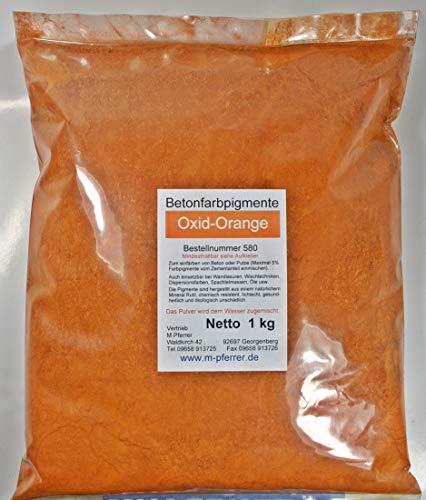 Orange Zementecht Oxid-Pigment 1kg Pulver für Betonmasse, Putze, Gips. kg