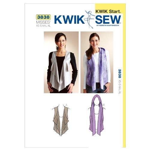 Kwik Sew Patroon K3838 maat XS/Small/Medium/Large/Extra grote vesten, wit, 1 stuk